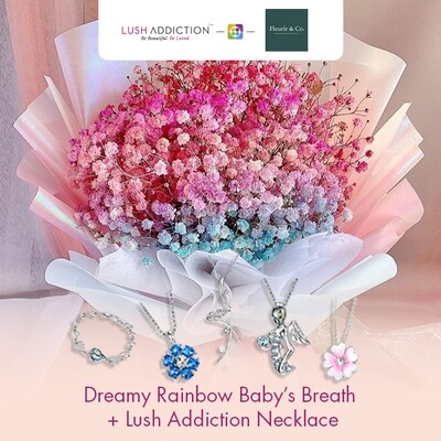 Dreamy Rainbow Baby's Breath + Lush Addiction Necklace (By: Fleurir & Co from Kuching)
