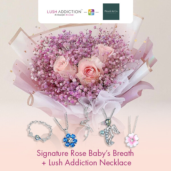 Signature Rose Baby's Breath + Lush Addiction Necklace (By: Fleurir & Co from Kuching)