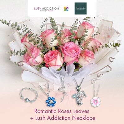 Romantic Roses Leaves + Lush Addiction Necklace (By: Fleurir & Co from Kuching)