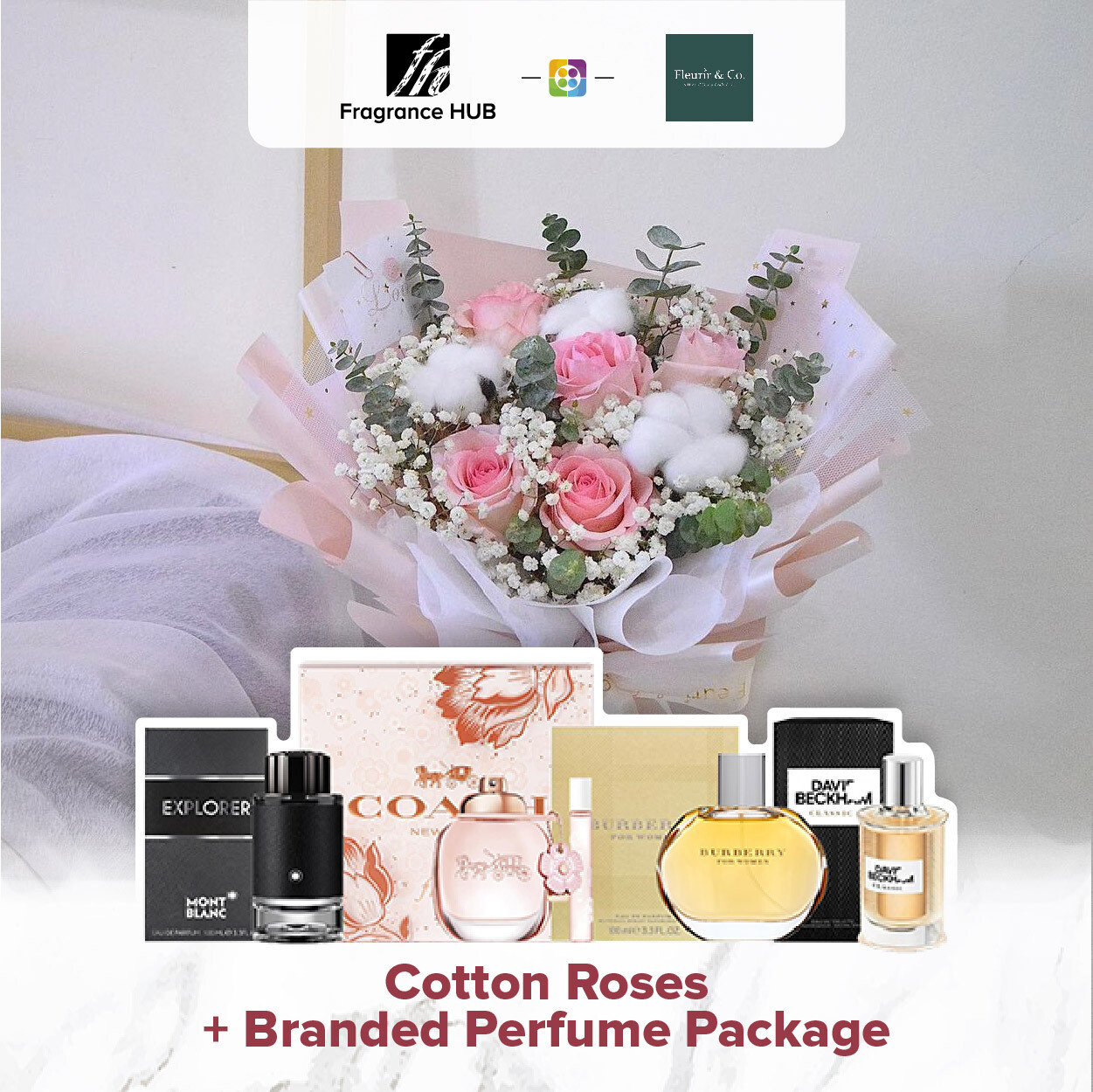 Cotton Roses + Fragrance Hub Branded Perfume (By: Fleurir & Co from Kuching)