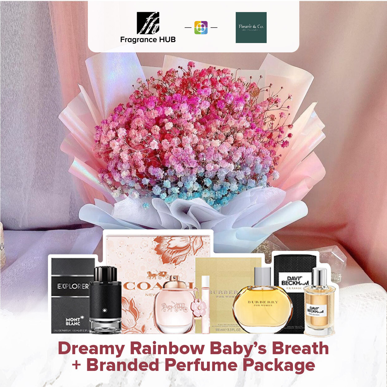 Dreamy Rainbow Baby's Breath + Fragrance Hub Branded Perfume (By: Fleurir & Co from Kuching)