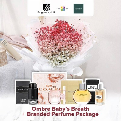Ombré Baby's Breath + Fragrance Hub Branded Perfume (By: Fleurir & Co from Kuching)