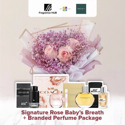 Signature Rose Baby's Breath + Fragrance Hub Branded Perfume (By: Fleurir & Co from Kuching)
