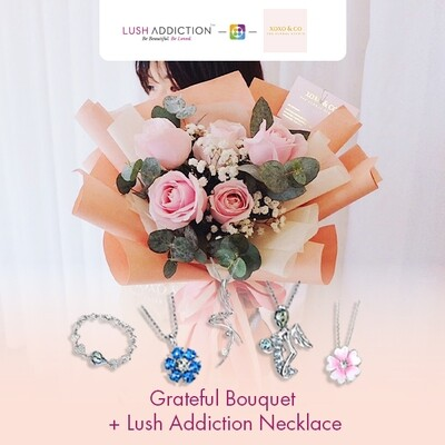 Grateful + Lush Addiction Necklace (By: XOXO The Floral Studio from Miri)