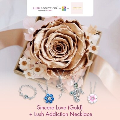 Sincere Love (Gold) + Lush Addiction Necklace (By: XOXO The Floral Studio from Miri)