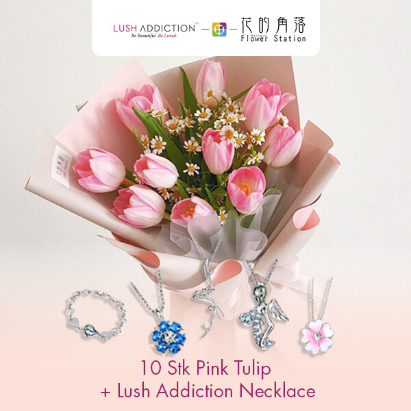 10 Stk Pink Tulip + Lush Addiction Necklace (By: Rainbow Flower Station from Cheras)