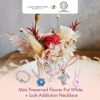 Mini Preserved Flower Pot - White+ Lush Addiction Necklace (By: Zhong Florist from Penang)
