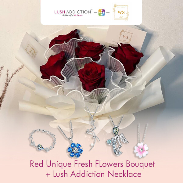 Red Unique Fresh Flowers Bouquet + Lush Addiction Necklace (By: Wan Soon Florist from Miri)