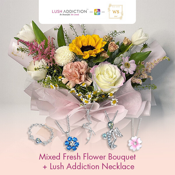 Mixed Fresh Flower Bouquet + Lush Addiction Necklace (By: Wan Soon Florist from Miri)