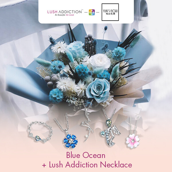 Preserved Flower Bouquet - Blue Ocean + Lush Addiction Necklace (By: Yuki Flori from Bukit Jalil)