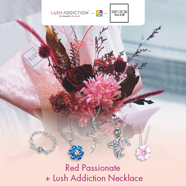 Preserved Flower Bouquet - Red Passionate  + Lush Addiction Necklace (By: Yuki's Flori from Bukit Jalil)
