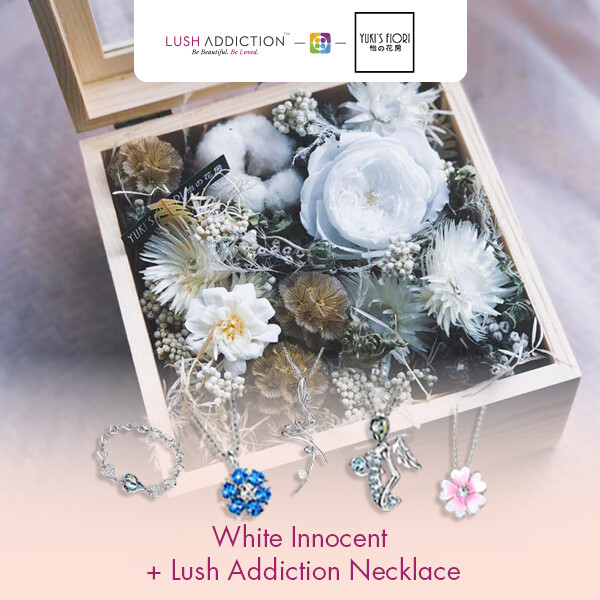 Preserved Flower Wooden Box - White Innocent  + Lush Addiction Necklace (By: Yuki's Flori from Bukit Jalil)