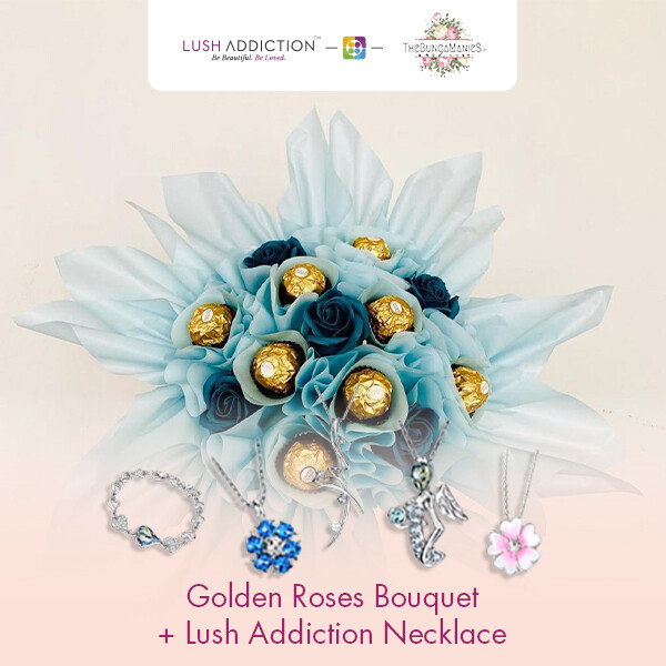 Golden Roses Bouquet + Lush Necklace (By: The Bunga Manies from Bintulu)