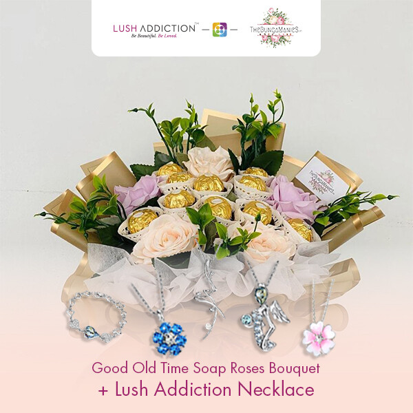 Good Old Time Soap Roses Bouquet  + Lush Addiction Necklace (By: The Bunga Manies from Bintulu)