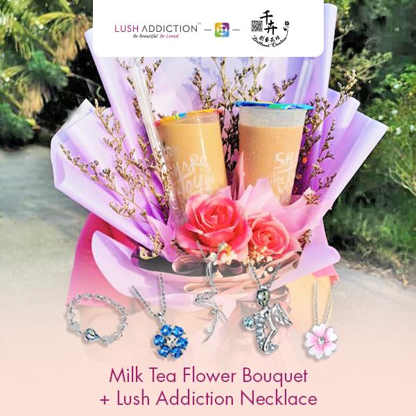 Milk Tea Flower Bouquet + Lush Addiction Necklace (By: Brilliant Creative Florist from Sibu)