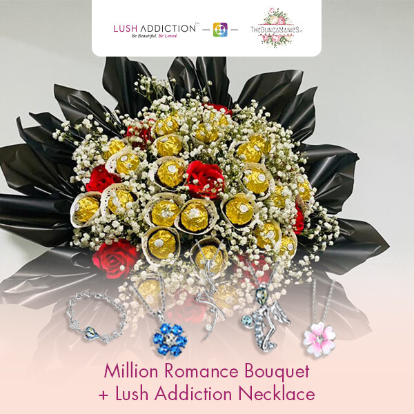 Million Romance Bouquet + Lush Addiction Necklace (By: The Bunga Manies from Bintulu)