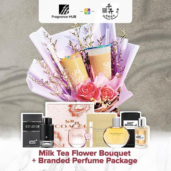 Milk Tea Flower Bouquet + Fragrance Hub Branded Perfume (By: Brilliant Creative Florist from Sibu)
