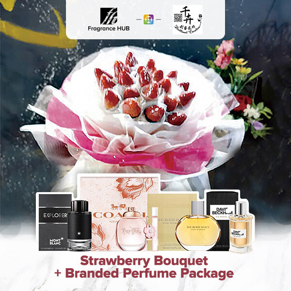 Strawberry Bouquet + Fragrance Hub Branded Perfume (By: Brilliant Creative Florist from Sibu)