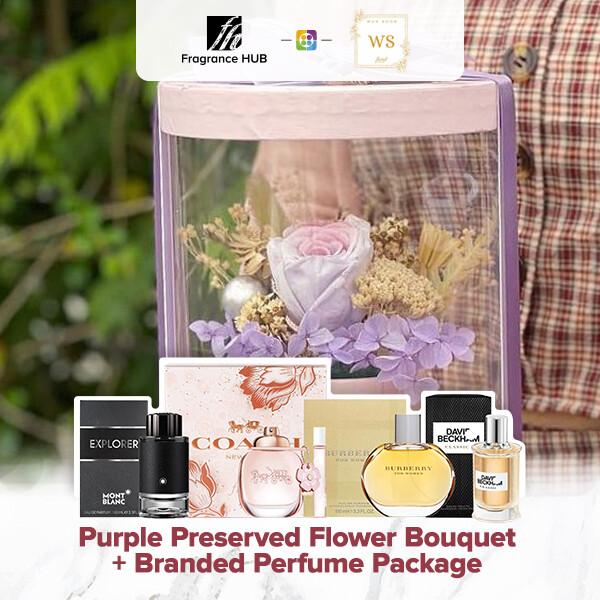 Purple Preserved Flower Bouquet + Fragrance Hub Branded Perfume (By: Wan Soon Florist from Miri)
