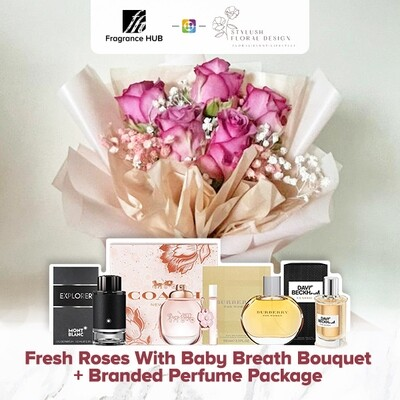 Fresh Roses With Baby Breath Bouquet + Fragrance Hub Branded Perfume (By: Stylush Sudio Floral Design from Kota Kinabalu)