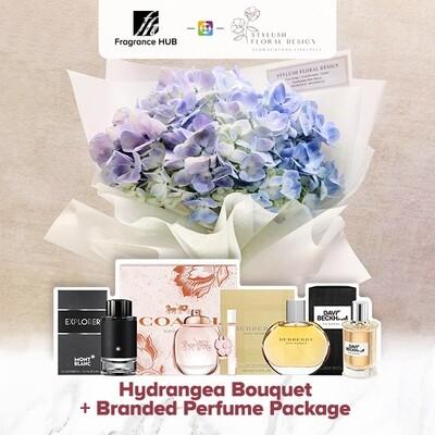 Hydrangea Bouquet + Fragrance Hub Branded Perfume (By: Stylush Sudio Floral Design from Kota Kinabalu)