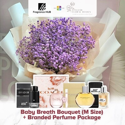 Baby Breath Bouquet (M Size) + Fragrance Hub Branded Perfume (By: Stylush Sudio Floral Design from Kota Kinabalu)