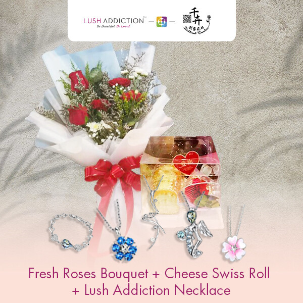 Fresh Roses Bouquet with Cheese Swiss Roll + Lush Addiction Necklace (By: Brilliant Creative Florist from Sibu)