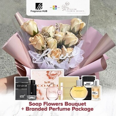 Soap Flowers Bouquet + Fragrance Hub Branded Perfume (By: Stylush Sudio Floral Design from Kota Kinabalu)