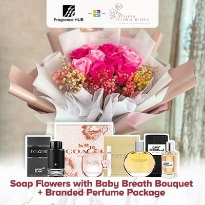 Soap Flowers with Baby Breath Bouquet + Fragrance Hub Branded Perfume (By: Stylush Sudio Floral Design from Kota Kinabalu)