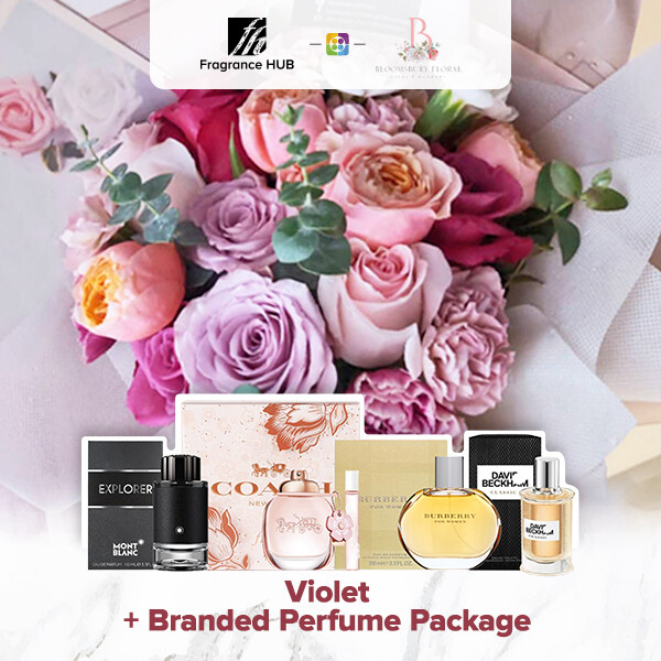 Violet Flower Bouquet + Fragrance Hub Branded Perfume (By: Bloomsbury from Puchong)