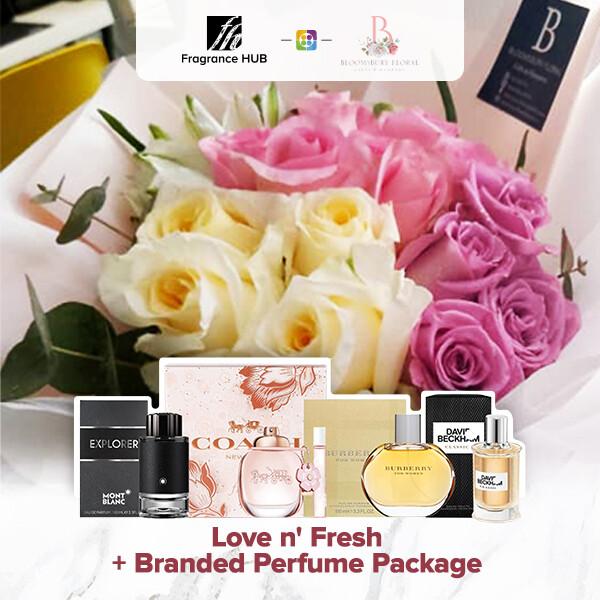 Love n' Fresh Flower Bouquet + Fragrance Hub Branded Perfume (By: Bloomsbury from Puchong)