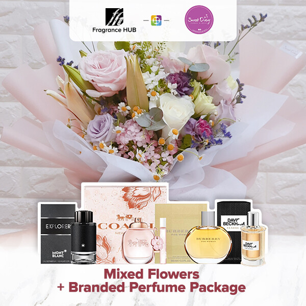 Mixed Flowers Bouquet (Pastel)  + Fragrance Hub Branded Perfume (By: Sweet Diary from Puchong)