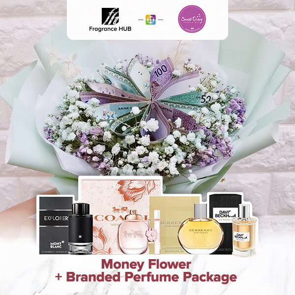 Money Flower and Baby Breath + Fragrance Hub Branded Perfume (By: Sweet Diary from Puchong)