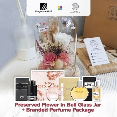 Preserved Flower In Bell Glass Jar  + Fragrance Hub Branded Perfume (By: Zhong Florist from Penang)