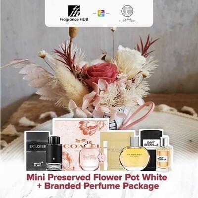 Mini Preserved Flower Pot - White  + Fragrance Hub Branded Perfume (By: Zhong Florist from Penang)