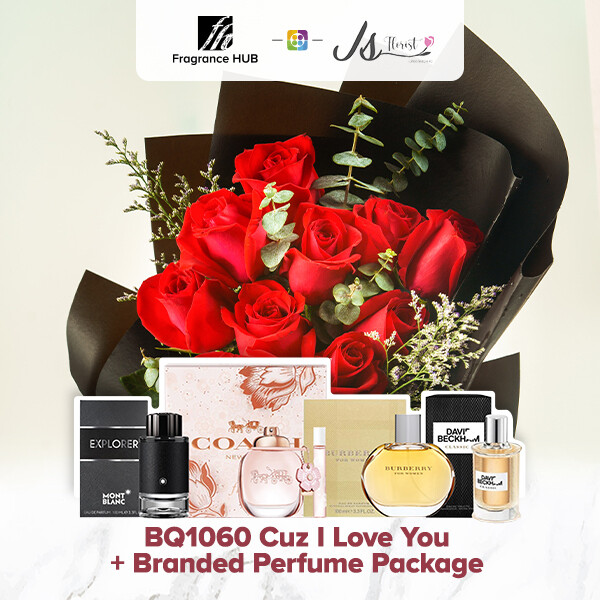BQ1060 Cuz I Love You Flower Bouquet + Fragrance Hub Branded Perfume (By: JS Florist from Damansara)