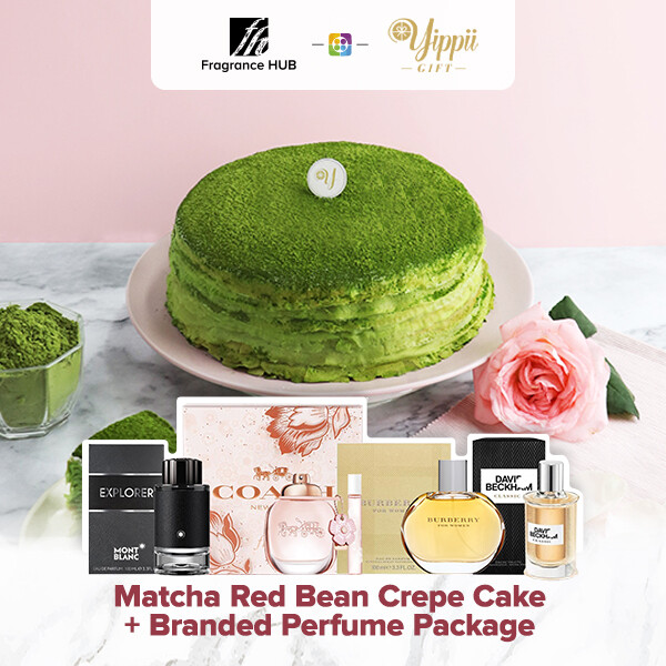 Matcha & Red Bean Mille Crepe Cake + Fragrance Hub Branded Perfume (By: Yippii Gift Cake from Kuala Lumpur)