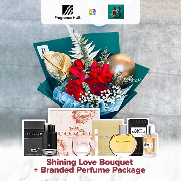 Shining Love Bouquet + Fragrance Hub Branded Perfume (By: The Bliss Florist from Melaka)