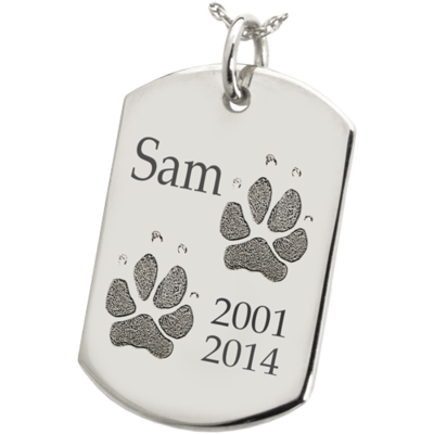 Dog Tag with Paw Prints