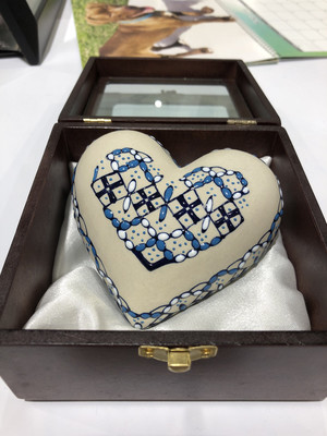 Hand Painted Heart Urn - Blue