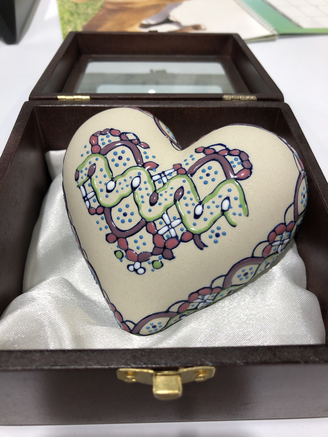 Hand Painted Heart Urn - Pink