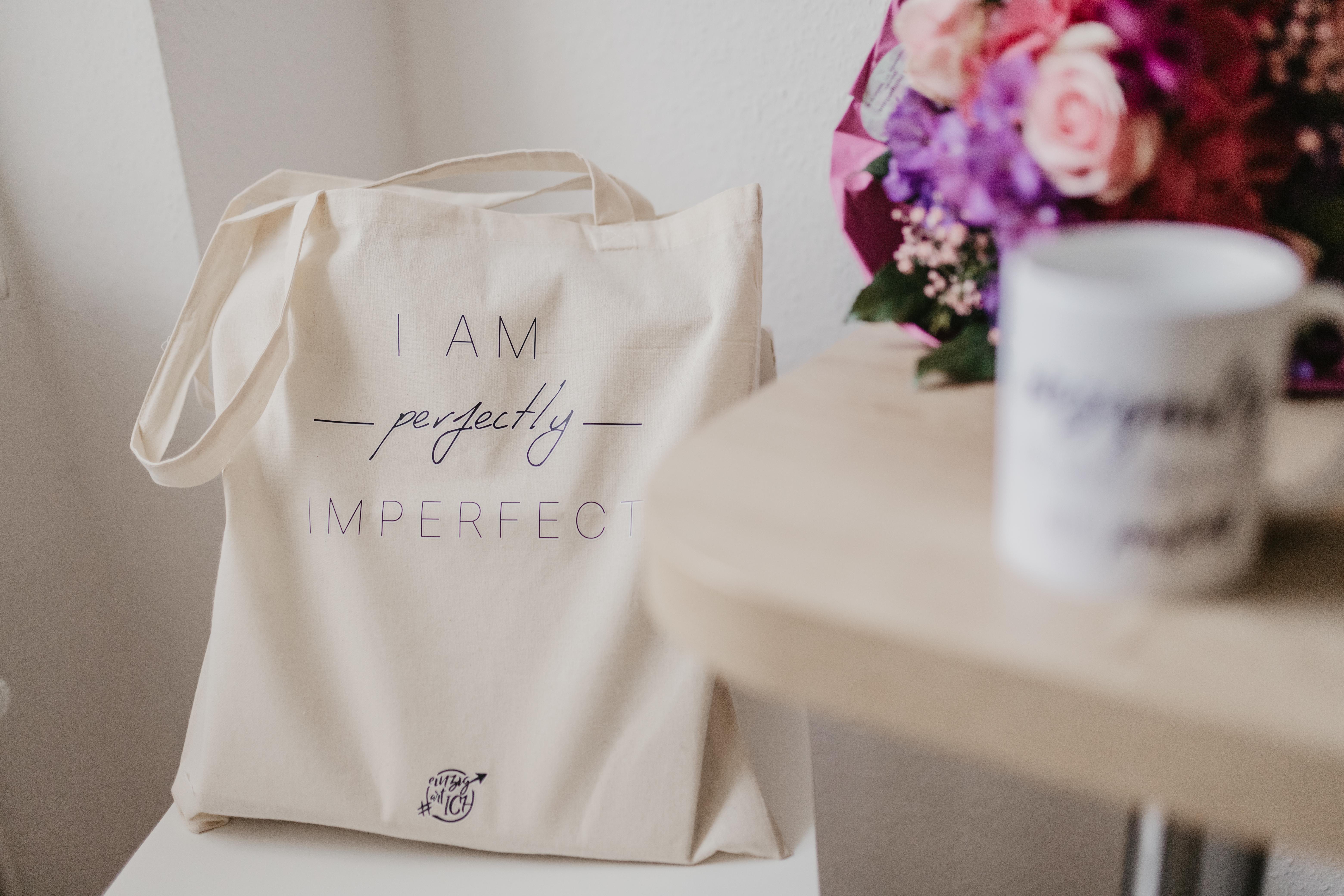 """Jutebeutel """"I am perfectly imperfect"""" 00001"""