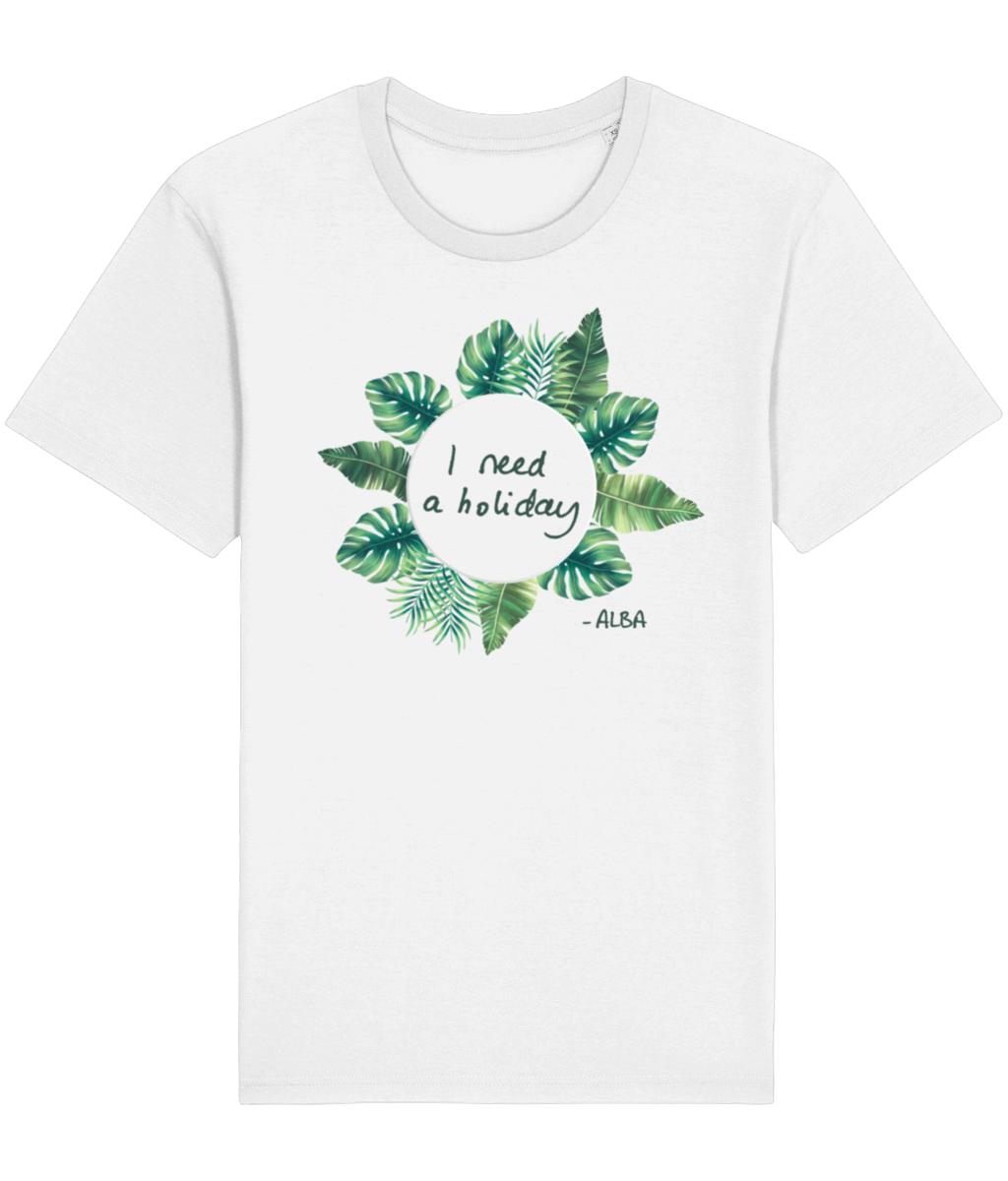 Straight-cut white t-shirt - I Need a Holiday