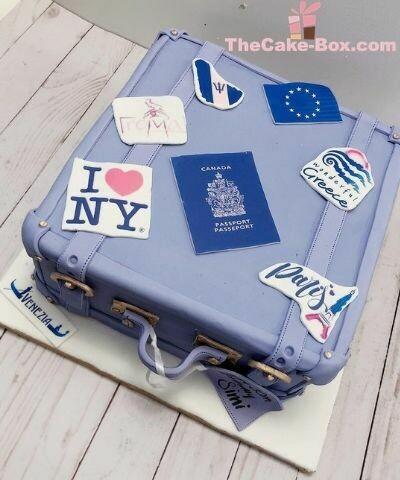 Blue Travel Bag Themed Cake