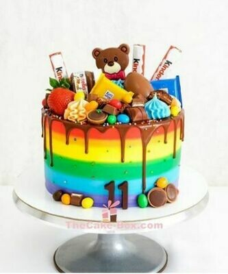 Kinder Rainbow Themed Teddy Birthday Cake