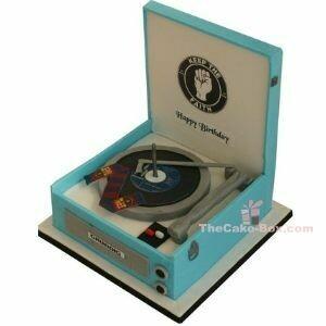 Blue Music Box Themed Cake