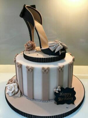 Black Shoe and Shoe Box Themed Cake for Her