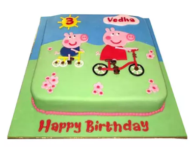 Peppa Pig on a Cycle Cake