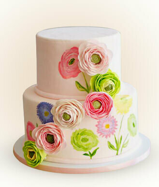 Vintage Florals Painted Cake