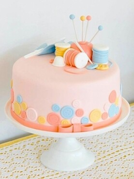 Sewing Themed Birthday Cake